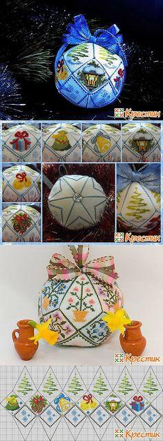 Схема вышивки крестом Новогодний шарик из 18 деталей «Зимняя сказка» (Бискорню и др. кривульки)