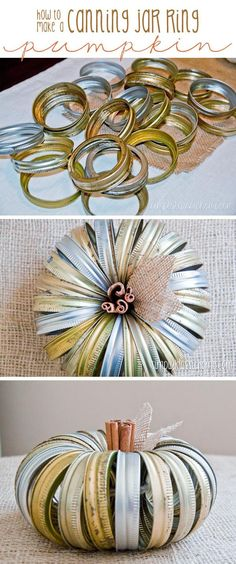 Easiest and quickest Fall craft ever! Make this canning jar ring pumpkin in five minutes flat! : Easiest and quickest Fall craft ever! Make this canning jar ring pumpkin in five minutes flat! Thanksgiving Crafts, Holiday Crafts, Holiday Fun, Diy Thanksgiving Decorations, Fall Decorations Diy, Autumn Crafts, Thanksgiving Table, Diy Spring, Fall Diy
