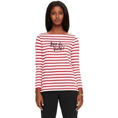 Kate Spade Joie De Vivre Stripe Top ($128) ❤ liked on Polyvore featuring tops, cropped camisole, striped crop top, crop top, camisole tops and striped top