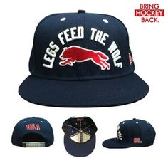 """Exclusive snap-back includes:-Embroidered 3d puff front """"Legs feed the wolf"""" -Side embroidery - """"80 _/ """" -Back embroidery - """"USA""""-Custom sew-tag label """"Bring Hockey Back""""-Inside printed taps """"Lake Placid 1980""""50 available. [Free Shipping - USA Only]These will go fast!***Currently taking requests for fitted hats - Please shoot us an email through the contact tab so we can get you on the list!***"""