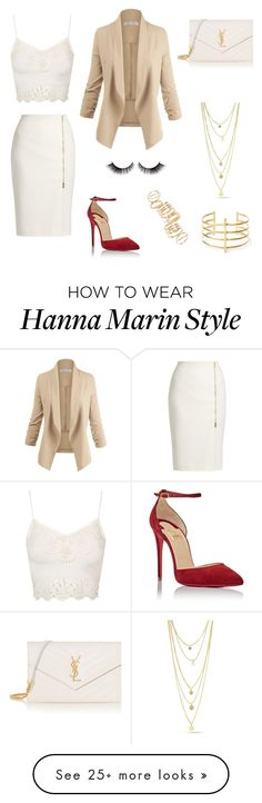 """Hanna Marin"" by brunaf19 on Polyvore featuring MaxMara, Topshop, Christian Louboutin, BP., BauXo and Yves Saint Laurent"