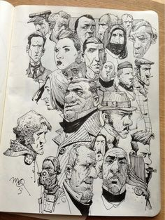 Sketchbook: Faces. Interesting way to collage faces on one page.