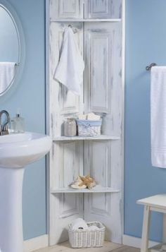 Beachy DIY Bathroom Corner Shelves