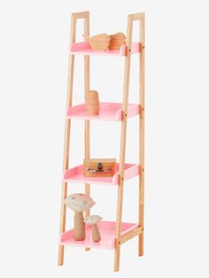 Biscotte Library Size S pink – Convenient and designed in the Scandinavian style, this bookshelf fits for every decoration! Consisting of 4 trays, your child can place his tray Source by mauricetjack Ladder Bookcase, Bookshelves, Pink Curtains, Blackout Curtains, Scandinavian Style, Decoration, Rose, Design, Home Decor