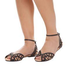 SCHUTZ - Sandália rasteira recortes couro - preta