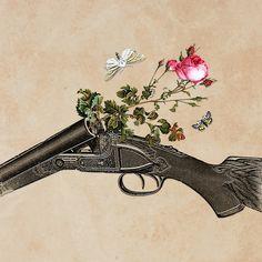 """One Gun, One Rose, Two Moths"" by Eugenia Loli.  Portfolio  | Store | Facebook | Instagram"