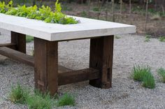 Stone top, wood base with insert for foliage or candles Fire Pit Furniture, Garden Furniture, Outdoor Furniture, Outdoor Dining, Dining Table, Outdoor Decor, Outdoor Ideas, Outdoor Spaces, Mountain Home Exterior
