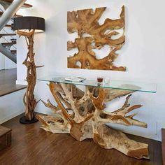 Con troncos naturales
