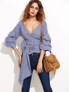 Online shopping for Navy Gingham Billow Sleeve Surplice Wrap Blouse from a great selection of women's fashion clothing & more at MakeMeChic. Blouse Wrap, Blouse Col V, Collar Blouse, Casual Outfits, Cute Outfits, Fashion Outfits, Womens Fashion, Fashion Pants, Urban Chic