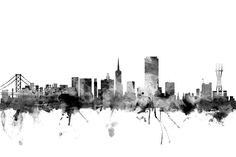 San Fancisco Architecture : Michael Tompsett an Francisco City Skyline B & W' Canvas Art - 16 x 24 City Collage, City Skyline Art, Portrait Background, San Francisco City, Black And White Painting, City Aesthetic, Architecture Portfolio, Paint Splash, Digital Illustration