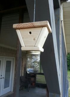Wasp Trap by HouseofSheib on Etsy Diy Projects To Try, Wood Projects, Woodworking Projects, Outdoor Projects, Wasp Traps, Bee Traps, Diy Pest Control, Bug Control, Weed Control