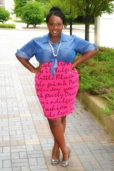 CeCe from The Big Girl Blog in our Midi Graffiti Printed Skirt