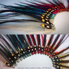 "I've been tying intruders for a couple of weeks so tied up a few different styles today. Here's my latest offerings call ""Sunvaris"" in five different colours. Tied with holographic tinsel of Mylar tinsel heads with Mylar pearl coloured braid part bodies on glitter tubes. These are fished very fast or on the swing in exactly the same way as Sunray Shadows! #balticflyfisher #seantheghillie #salmonflies #salmonfishing #flytying #flyfishing #prosportfisher #looplife #bloodtypel by ali_hutchens"