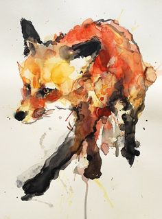 fox illustration in watercolour. lovely :-)
