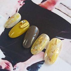 再販3*マスタードカラー*フェザー Korean Nails, Fall Nail Colors, Simple Nails, Cute Nails, Nail Designs, Hair Beauty, Makeup, Nailart, Sweets