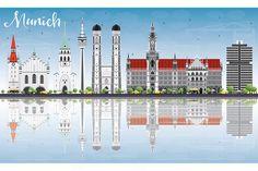 #Munich #Skyline with Gray Buildings by Igor Sorokin on @creativemarket