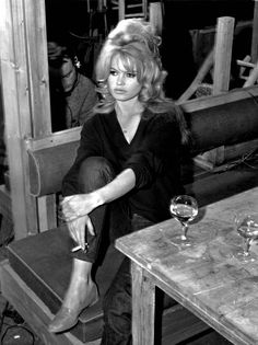 Brigitte bardot 11x14 photo on set in bar with drink smoking cigarette