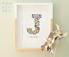 Animal Nursery Art  Custom Name Print Letter J  by MonkeyAndSkip