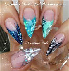 Luminous Nails: Luminous Nails Advanced Nail Art Designs EBook. Available from www.luminousnailsandbeauty.com.au/ebook Navy, Teal, Mint, Black and Silver Acrylic Nails