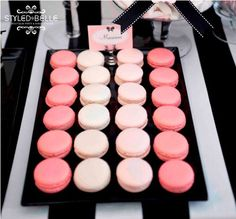 modern elegance pink black and white baby shower birthday party dessert table pink ombre macaroons; copycat with oreos dipped in tinted white chocolate White Dessert Tables, Black Dessert, White Desserts, Macarons Rosa, Pink Macaroons, French Macaroons, Birthday Party Desserts, 21st Birthday, Paris Birthday