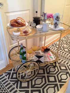 Wheel one into the bedroom for serving brunch. | 25 Awesomely Creative Ways To Use A Bar Cart