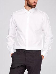Chemise col italien coupe ajustée                                                                                                                                             blanc Homme