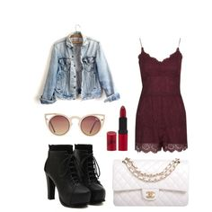 A fashion look from May 2015 featuring distressed denim jacket, lace rompers and chunky heel boots. Browse and shop related looks. Rimmel, Polyvore Fashion, Topshop, Chanel, Image, Style, Boots, Swag