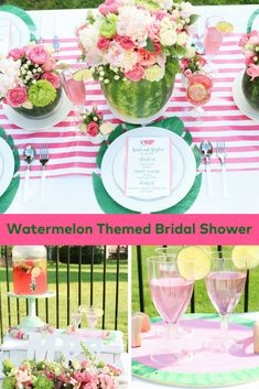 We wanted to style a gorgeous summer bridal shower that envelops all of these summer ideals, so a romantic watermelon shower full of cascading florals. Watermelon Wedding, Baby Shower Watermelon, Watermelon Birthday Parties, Watermelon Party Decorations, Watermelon Centerpiece, Birthday Centerpieces, Table Centerpieces, Wedding Centerpieces, Summer Bridal Showers