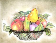 Fruit Basket Drawing Paintings Still Life 48 Ideas For 2019 Fruit Basket Drawing, Pencil Drawings, Art Drawings, Vegetable Basket, Vegetable Ideas, Fruit Sketch, Fruits Drawing, Newspaper Art, Painting Still Life
