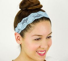 Lace Headband Light Blue Stretch Headband Women by JuicyBows