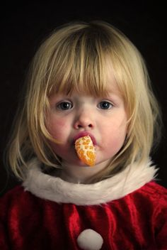 Fille, Portrait, Noël, Orange, Enfants