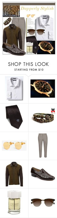 """Dapperly Stylish"" by prettyinjewels ❤ liked on Polyvore featuring Banana Republic, Versace, Topman, Kuhl, Giorgio Brutini, Yves Saint Laurent, Ace, men's fashion, menswear and sophisticated"