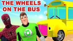 SuperHeros Iron Man, Batman, Incredible Hulk Singing - The Wheels On the...