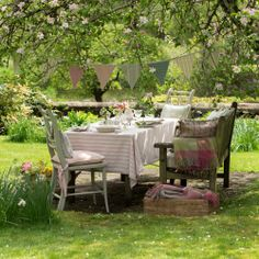 Enjoying lunch amongst the flowers in the garden on a warm spring day