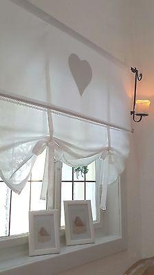 """WEIß """"Le Coeur"""" Gardine Raffrollo 90/110/130/150 Landhaus Shabby Chic Vintage"""