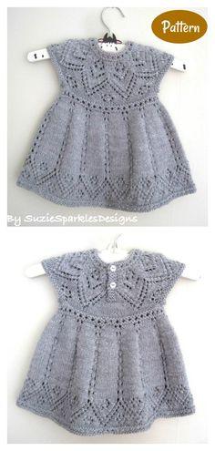 Baby Dress Knitting Pattern   #knittingpattern #babydressknittingpattern Crochet Baby Dress Free Pattern, Baby Cardigan Knitting Pattern Free, Baby Sweater Patterns, Knit Baby Sweaters, Baby Dress Patterns, Knitted Baby Clothes, Baby Clothes Patterns, Free Knitting Patterns Sweaters, Free Baby Sweater Knitting Patterns
