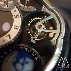 A close up at the double tourbillon on the Greubel Forsey GMT.