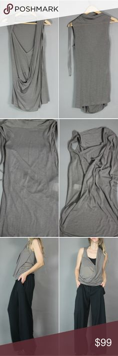 ❤ Ann Demeulemeester Draped Tank Beautiful Ann Demeulemeester Asymmetrical Draped Tank Tshirt super soft luxe fabric - great avant grade cut that can be worn forward or backward -both to great effect. 70% lycocell - 30% wool blend New With Tags -sale/ Barneys. tag size 36 (US 4) color khaki made in Portugal semi sheer light fabric NWT - Normal *very* minor snags (not photographable) from normal try on/shop wear. tag is crinkled. new, unworn condition.  antwerp belgian totokaelo designer…