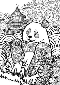 Giant Panda page from my Animal Dreamers coloring book I'm working on https://www.kickstarter.com/projects/1382679986/animal-dreamers-art-therapy-coloring-book-for-all
