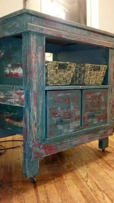 vintage shabby rustic kitchen island.  maybe for laundry room?