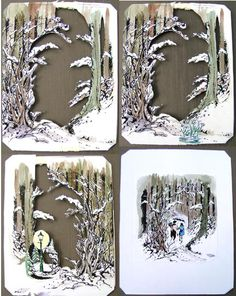 Shadowbox diorama, Narnia (lots of pics) Paper Art, Paper Crafts, Book Crafts, Tunnel Book, Art Trading Cards, Artist Card, Atc Cards, Mail Art, Altered Art