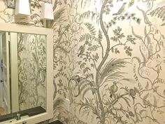 "Brunschwig & Fils ""Bird and Thistle"" wallpaper brunschwig fils bird… Thistle Wallpaper, Silver Wallpaper, Bathroom Wallpaper, Colorful Wallpaper, Fabric Wallpaper, Pattern Wallpaper, Wallpaper Ideas, Beautiful Wall, Beautiful Homes"