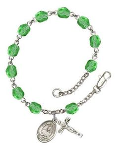 St. Lawrence Silver-Plated Rosary Bracelet with 6mm Peridot Fire Polished beads