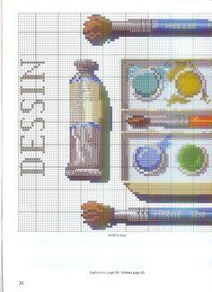 0 point de croix grille et couleurs de fils dessin, palette de peinture, pinceau 1