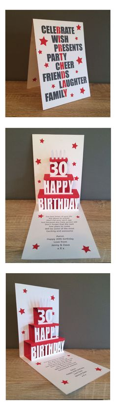 30th pop up birthday card for my cousin