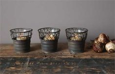3-1/2 Round x 3-1/2H Metal and Glass Votive Holder, 3 Styles