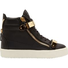 Pre-owned Giuseppe Zanotti Rs5029 Birel Nero Gold Leather Bucked... ($400) ❤ liked on Polyvore featuring shoes, sneakers, black, black trainers, gold shoes, gold leather shoes, black sneakers and zipper sneakers