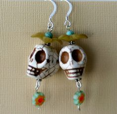 SALE Day of the Dead Beaded Earrings w Skulls and by SpiritMama, $13.00