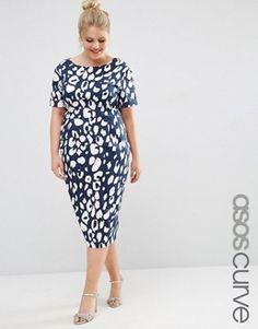 ASOS Curve   ASOS CURVE Animal Print Wiggle Dress at ASOS98% Cotton, 2% Elastane