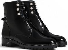 Christian Dior Black Glazed Calfskin Ankle Boot
